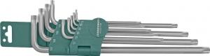 Комплект угловых ключей Torx Extra Long Т9-Т50, 1 S2 материал, 10 предметов JONNESWAY