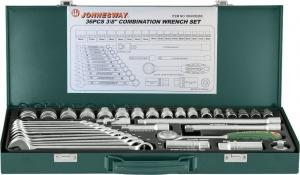 """Набор торцевых головок 3/8""""DR 6-22 мм и комбинированных ключей 7-17 мм, 36 предметов JONNESWAY"""