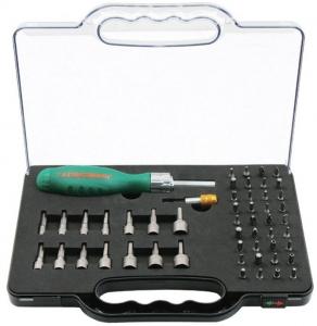 Отверточная рукоятка трещоточная с набором бит и насадок 52 предмета JONNESWAY