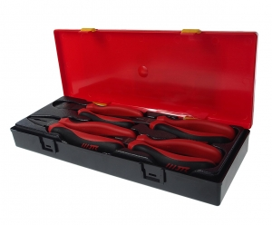 Набор инструментов губцевых 4 предмета (тонкогубцы, пассатижи, бокорезы) в кейсе JTC