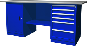 Верстак с двумя тумбами — тумба с дверцей — тумба с 6 ящиками. 1900х686х845 мм