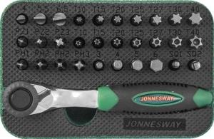 "Набор вставок-бит с трещоточной рукояткой мини 1/4""DR, 60 зубцов, 32 предмета JONNESWAY"