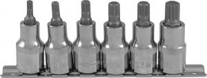 """Набор насадок торцевых 1/2""""DR с вставками-битами SPLINE на держателе, M5-M12, 6 предметов"""