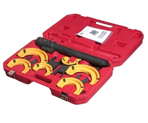 Набор инструментов для стяжки пружин с пневмоприводом (3 пары захватов, ход 317мм) в кейсе JTC