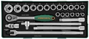 """Набор торцевых головок 1/2""""DR 10-32 мм, 24 предмета (ложемент) JONNESWAY"""