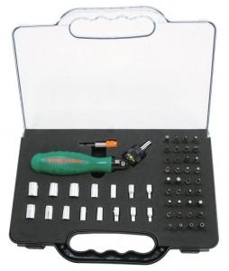 Отверточная рукоятка трещоточная c гибкой головкой с набором насадок 53 предмета JONNESWAY