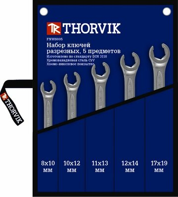 Набор ключей разрезных в сумке 8-19 мм, 5 предметов Thorvik 13753