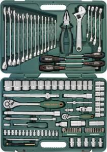 """Универсальный набор торцевых головок 1/4""""DR 4-10 мм и 1/2""""DR 8-32 мм, комбинированных ключей 8-24 мм и отверток, 101 предмет JONNESWAY"""