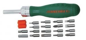 Отверточная рукоятка трещоточная с набором бит 19 предметов JONNESWAY