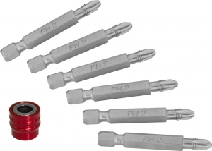 Набор вставок-бит для механического инструмента со сменным магнитным держателем, PH2, 50 мм, 7 предметов