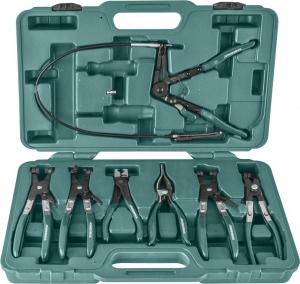 Набор щипцов для демонтажа пружинных хомутов патрубков, 7 предметов JONNESWAY