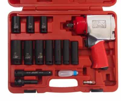 Набор инструментов для шиномонтажа (с пневмогайковертом JTC-5812) 15 предметов в кейсе JTC 10810