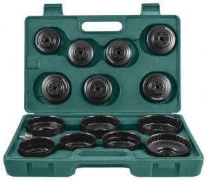 Комплект чашек для демонтажа масляных фильтров 65-100 мм, 15 предметов JONNESWAY
