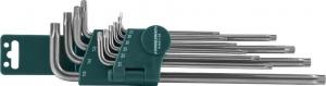 Комплект угловых ключей Torx с центрированным штифтом Extra Long Т9-Т50, S2 материал, 10 предметов JONNESWAY